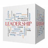 Leadership 3D Cube Word Cloud Concept