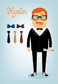 Hipster character pack for business man