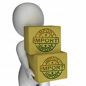 Import Boxes Show Imported Global Goods And Merchandise