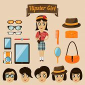 Hipster character elements for nerd woman