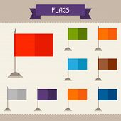 Flags colored templates for your design in flat style.