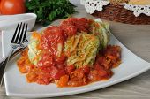 Stuffed  Cabbage Savoy Cabbage With Tomato Sauce