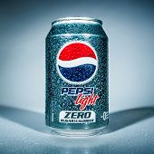 MOSCOW, RUSSIA-APRIL 4, 2014: Can of Pepsi cola Lignt. Pepsi is a carbonated soft drink that is produced and manufactured by PepsiCo. Created and developed in 1893.