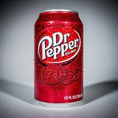 MOSCOW, RUSSIA-APRIL 4, 2014: Can of Dr Pepper soft drink. Dr Pepper is a soft drink marketed as hav