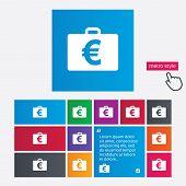 Case with Euro EUR sign. Briefcase button.