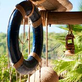 Lifebuoy, Marine Decor, Wooden Canopy For Recreation