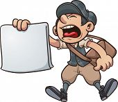 Cartoon paper boy yelling. Vector clip art illustration with simple gradients. All in a single layer