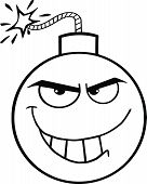 Black and White Evil Bomb Cartoon Character