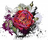 Beautiful grunge background with rose
