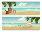 Two retro summer vacation banners. Vector.