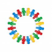 Colorful Men Of Colored Paper Placed In A Circle On A White Background
