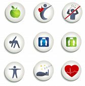 stock photo of atherosclerosis  - Normal weight healthy eating and other icons - JPG