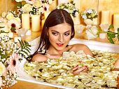 picture of sauna woman  - Woman relaxing at water spa - JPG