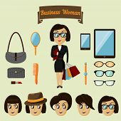 Hipster character pack for business woman