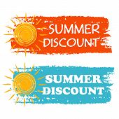 Summer Discount With Yellow Sun Sign, Orange And Blue Drawn Labels
