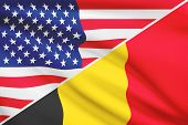 Series Of Ruffled Flags. Usa And Belgium.