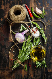 stock photo of sult  - Bunch of fresh rosemary - JPG