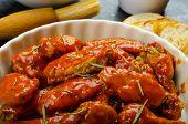 Hot Chicken Wings, Habanero Souce, Salad
