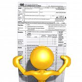 Gold Guy With Tax Forms