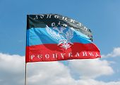 Donetsk Republic Flag On Background The Sky
