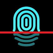 Fingerprint identification system - whorl type icon.