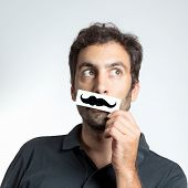 funny guy with fake moustache