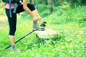 woman hiker tying shoelace outdoor