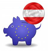Piggy Bank And Euro European Austria