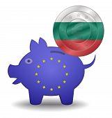 Piggy Bank And Euro European Bulgaria