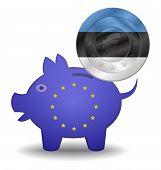Piggy Bank And Euro European Estonia