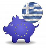 Piggy Bank And Euro European Greece