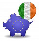Piggy Bank And Euro European Ireland