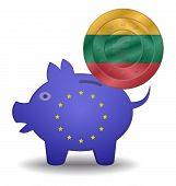 Piggy Bank And Euro European Lithuania