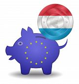 Piggy Bank And Euro European Luxembourg