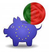 Piggy Bank And Euro European Portugal