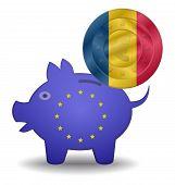 Piggy Bank And Euro European Romania