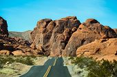 stock photo of valley fire  - Entering the Valley of Fire State park in Nevada - JPG