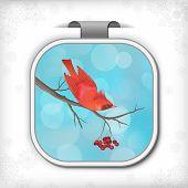Winter Christmas Sticker Bird Rowan Tree Branch