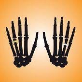 Human Hand Bones With Rings Eps10