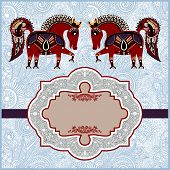 image of year horse  - ornamental pattern with horses with place for your greetings - JPG