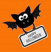 Cute Bat With Plate Happy Halloween Card. Flat Design.