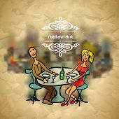 Background in vintage style people in the restaurant with blured backdrop