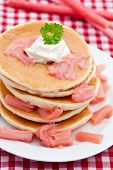 Pancakes With Stewed Rhubarb