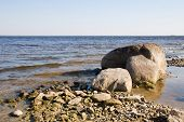 The Rocky Shore Of The Lake. The North Of Russia