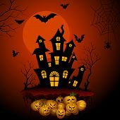 Haunted horror house in Halloween night