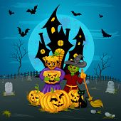 picture of monsters  - vector illustration of monster with pumpkin in Halloween night - JPG