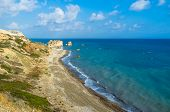 stock photo of saracen  - The lovely beach located next to the Rock of the Greek the birthplace of the goddess Aphrodite Paphos Cyprus - JPG