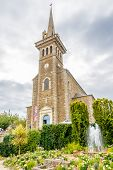 Church With Fountain In Dinard