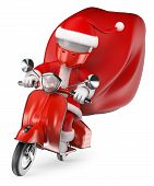 3D White People. Santa Delivering Gifts By Motorcycle