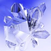 image of crystal clear  - Digital 3D Illustration of clear Crystals with blue Sky - JPG